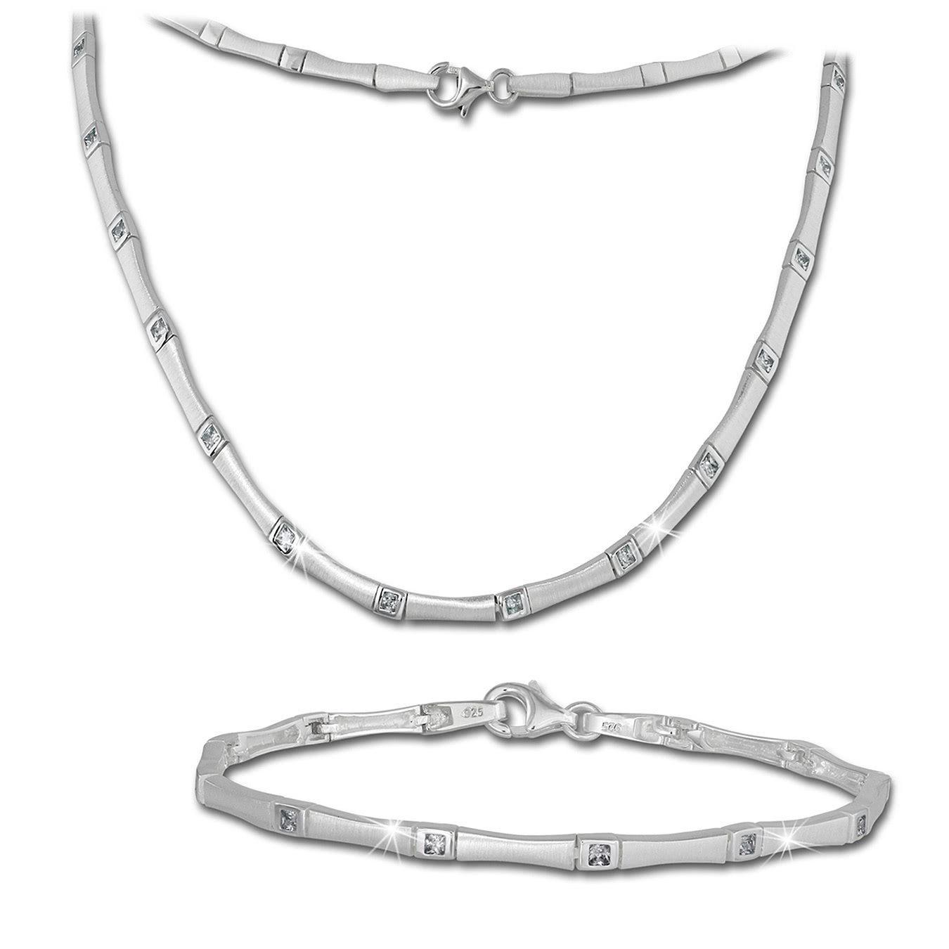 SilberDream Schmuckset »SDS436W SilberDream Collier & Armband Zirkonia« (Schmucksets, 2 tlg), Damen Schmucksets aus 925 Sterling Silber, Farbe: silber