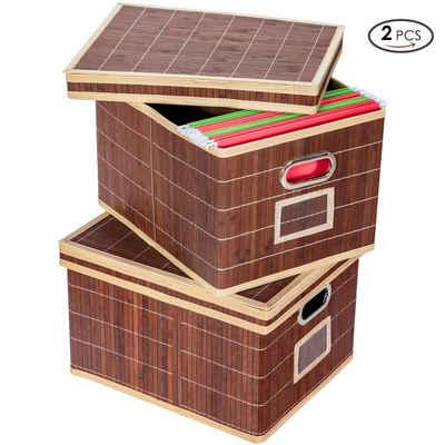 COSTWAY Aufbewahrungskorb »2er Set Wäschekorb Wäschesammler Bambuskorb«, mit Deckel, Bambus, klappbar, mit Griff und Beschriftungsschild, für Kleidung, Spielzeug, Schuhe und Bücher