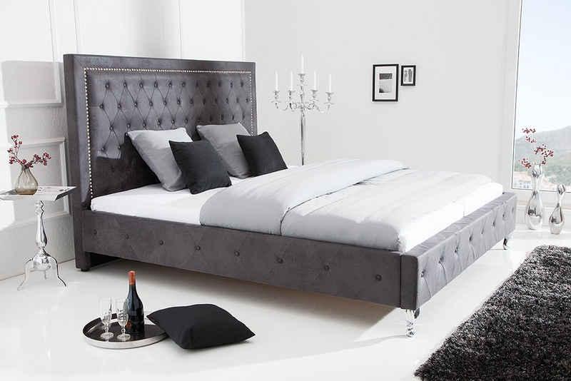 riess-ambiente Bett »EXTRAVAGANCIA 180x200cm antik grau«, im Chesterfield-Design