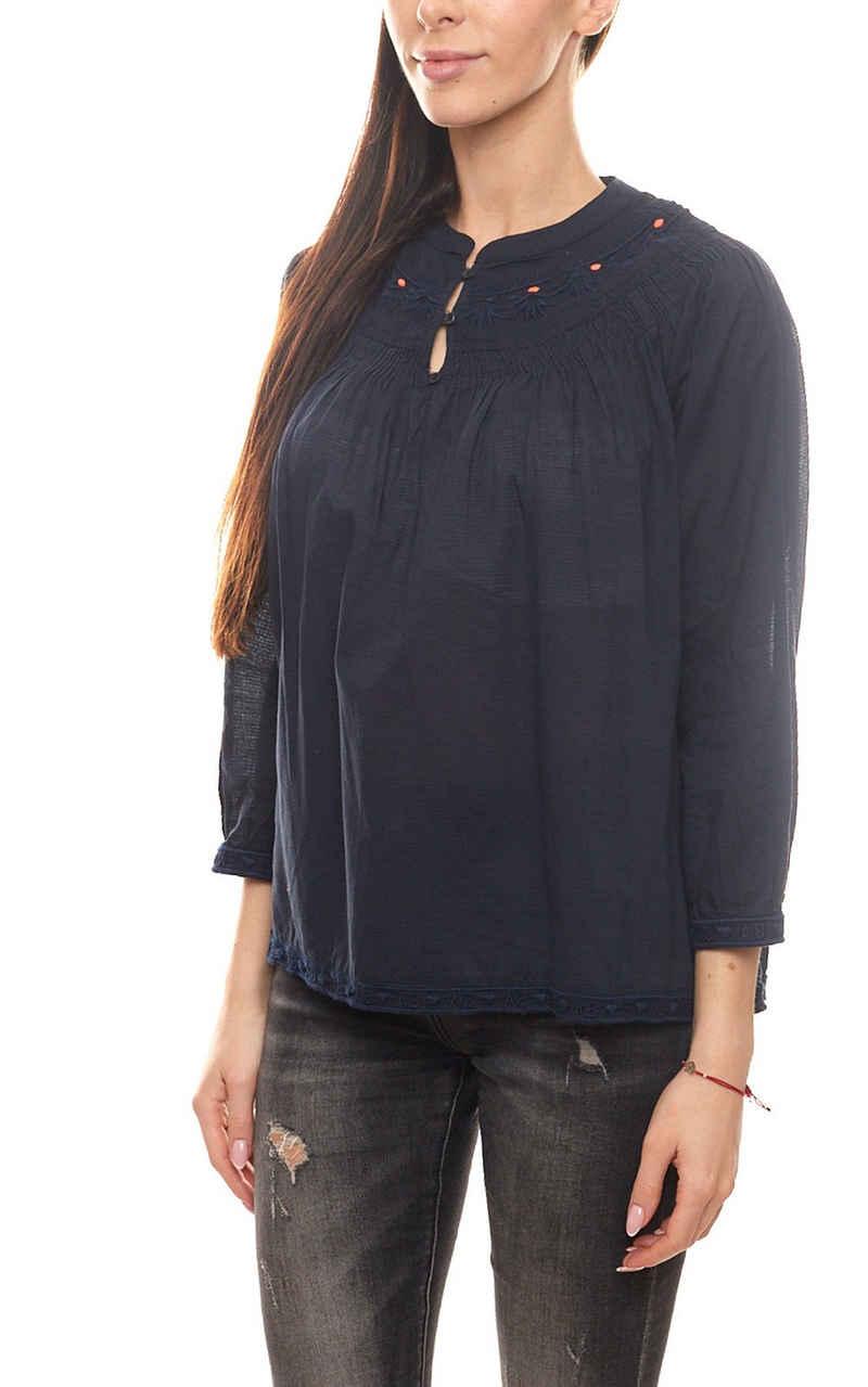 Scotch & Soda Blusentop »SCOTCH & SODA Bluse leicht transparente Damen Herbst-Bluse Mode-Bluse mit Stickereien Blau«