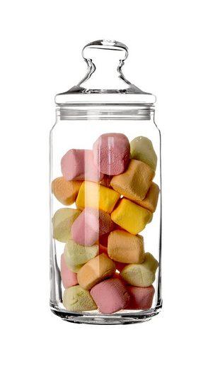 Luminarc Vorratsdose »Pot Club Vorratsglas 1,5 Liter − Made in France − Hochwertige Bonbondose aus Glas − Dose für Süßigkeiten, Snacks & Kekse − Behälter für Getreide, Gewürze & Gebäck«, Glas