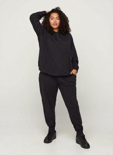 Zizzi Sweathose Große Größen Damen Einfarbige Baumwollsweatpants mit Taschen