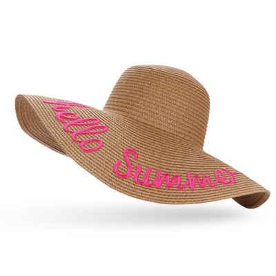 Sonia Originelli Strohhut »Sommerhut Strandhut Sonne Hello Summer neon pink bestickt«