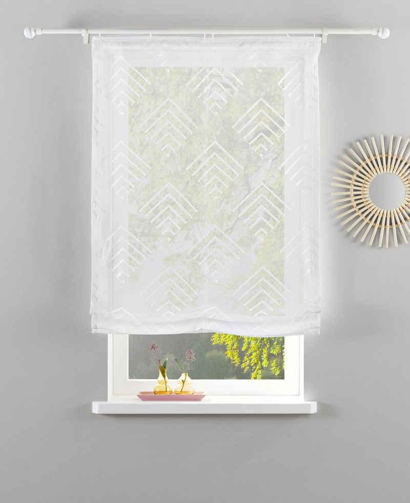 Raffrollo »Gordon«, Guido Maria Kretschmer Home&Living, mit Klettband, transparent, gewebt mit Stickerei, monochrom