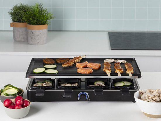 Tristar Raclette, 8 Raclettepfännchen, 1400 W, 4in1 RACLETTE Gerät für 2-8 Personen, eckiger XL Tischgrill Raclet, mit wendbarer Grillplatte 1400 Watt