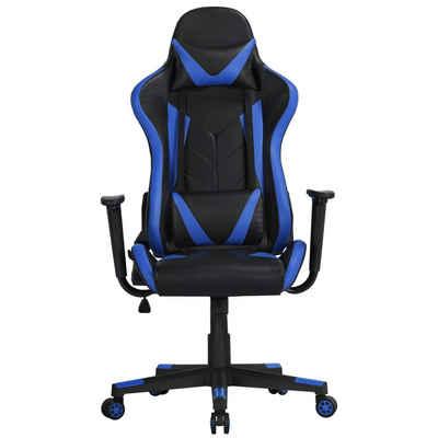 Yaheetech Gaming-Stuhl, Bürostuhl Kunstleder Drehstuhl Racingstuhl Computerstuhl Hoch Rücken Ergonomisches Design mit Kopfstütze und Lendenkissen Blau