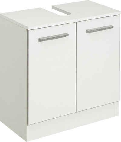 PELIPAL Waschbeckenunterschrank »Quickset 953« Breite 60 cm, Badschrank mit Sockel und Siphonausschnitt, Absetzung in Beton-Optik
