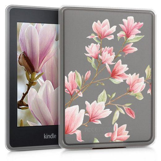 kwmobile E-Reader-Hülle, Hülle für Amazon Kindle Paperwhite - Silikon eReader Cover Case - Backcover Schutzhülle (für Modelle bis 2017) - Magnolien Design