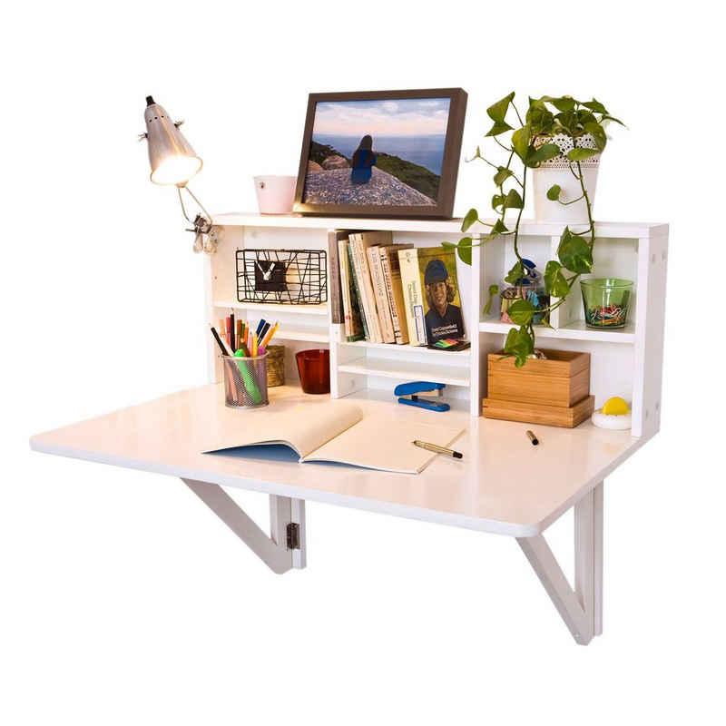 SoBuy Klapptisch »FWT07«, Wandklapptisch mit integriertem Regal Wandschrank Küchentisch Esstisc