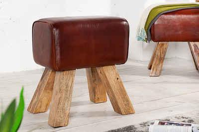riess-ambiente Sitzhocker »TURNBOCK 40cm coffee / natur«, mit Echtleder-Bezug
