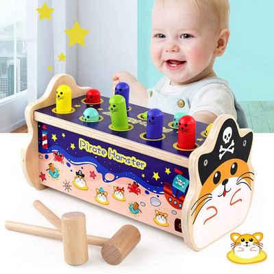 Arkmiido Lernspielzeug »Holzhammer Spielzeug mit 2 Schlägeln«, Pädagogisches Holzspielzeuggeschenk für Kleinkinderbabys