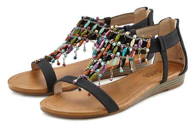 LASCANA Sandalette mit kleinem Keilabsatz im Festival-Look