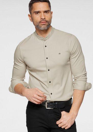 Calvin Klein Langarmhemd »SLIM STAND COLLAR KNITTED SHIRT«