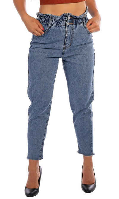 Charis Moda Mom-Jeans »Jeans im Paperbagstyle hellblaue Waschung«