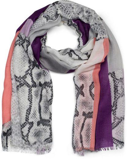 styleBREAKER Schal »Colour Blocking Schal mit Schlangen Print« Colour Blocking Schal mit Schlangen Print