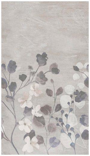 BODENMEISTER Fototapete »Betonwand Blumen grau«, Rolle 2,80x1,59m