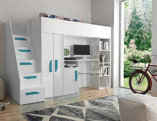 Feldmann-Wohnen Hochbett »PARTY« (Etagenbett mit Schreibtisch + Kleiderschrank) Farbe wählbar