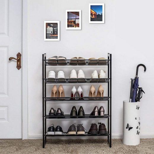 SONGMICS Schuhregal »LMR005B«, Schuhablage für 15-20 Paar Schuhe, schwarz