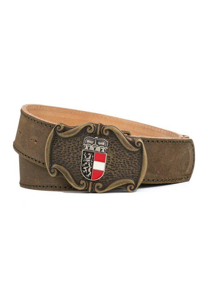 der trachtler -  Ledergürtel »Seppl« mit trendiger Salzburg-Wappen-Schließe
