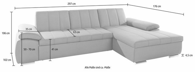 DOMO collection Ecksofa, mit Recamiere, wahlweise mit Bettfunktion | Wohnzimmer > Sofas & Couches > Ecksofas & Eckcouches | Grau | DOMO collection