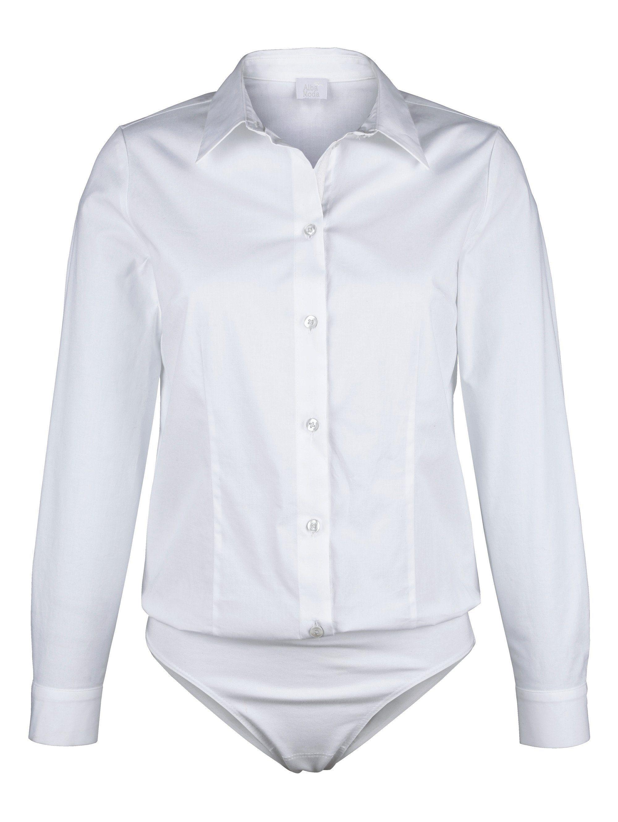 Alba Moda Blusenbody mit Hemdblusenkragen | Unterwäsche & Reizwäsche > Bodies & Corsagen > Blusenbodys | Elasthan - Baumwolle - Jersey | Alba Moda