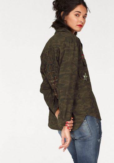 Please Jeans Military-Jacke, mit aufwendiger Rückenstickerei