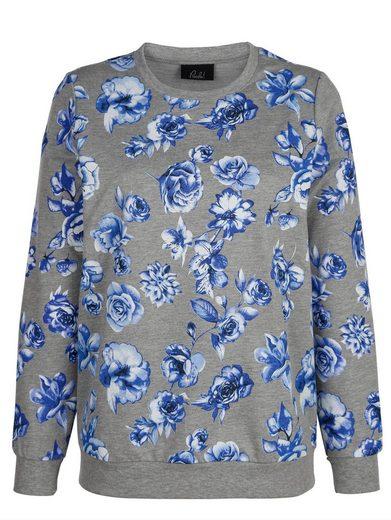 Paola Sweatshirt mit effektvollen Blumendruck