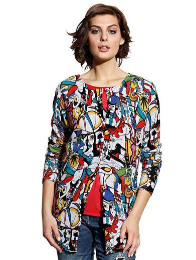 Alba Moda Strickjacke mit modischem farbenfrohen Druck
