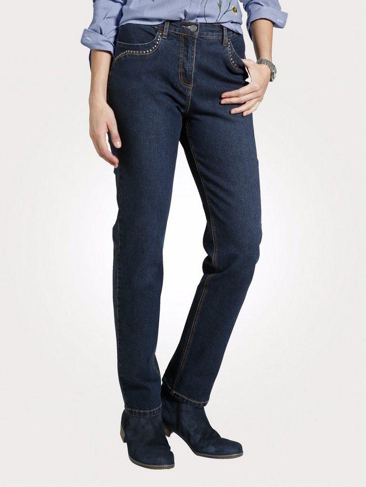 Damen Mona Jeans mit Nietenzier blau   04055715287471