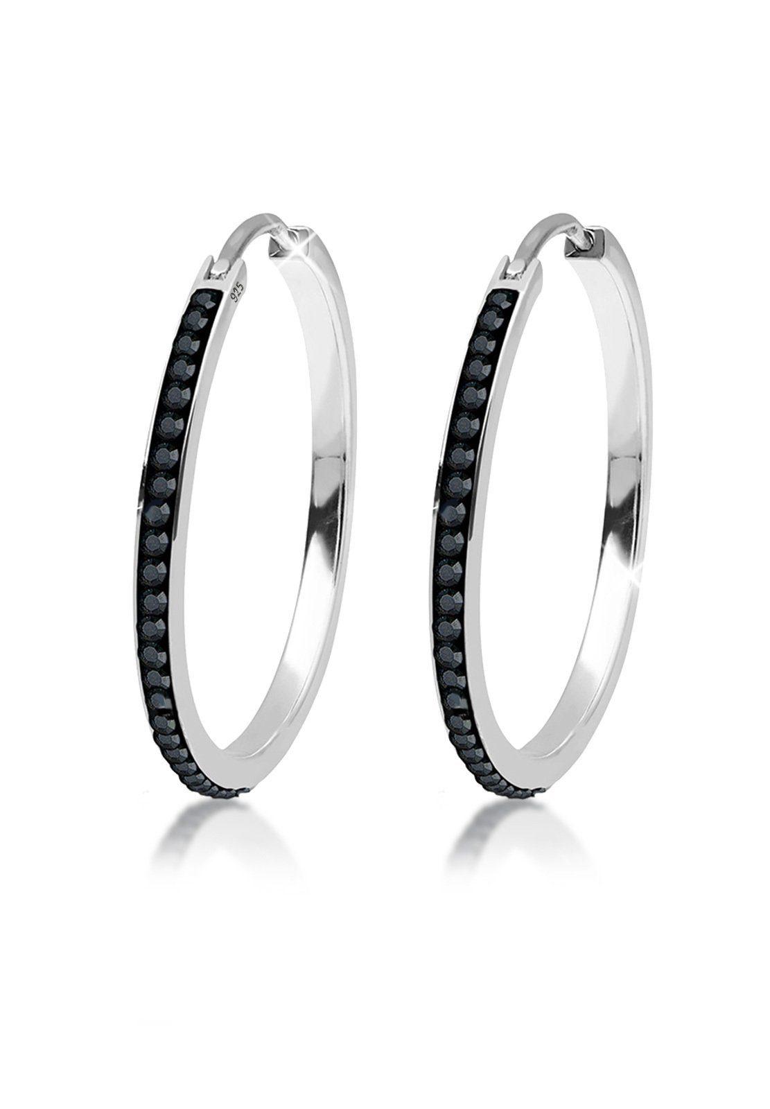 Elli Ohrringe »Creolen Swarovski® Kristalle Funkelnd 925 Silber«