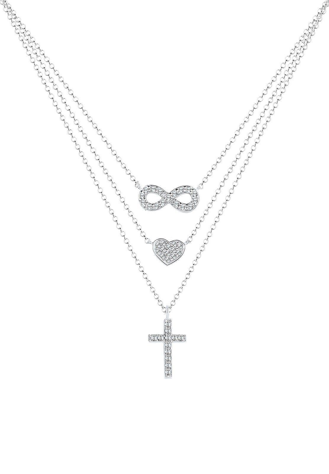 Elli Halskette »Infinity Herz Kreuz Swarovski® Kristall Silber Ida«