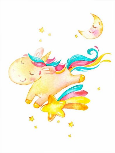 Wall-Art Bild »Shiny the Unicorn«, Einhorn