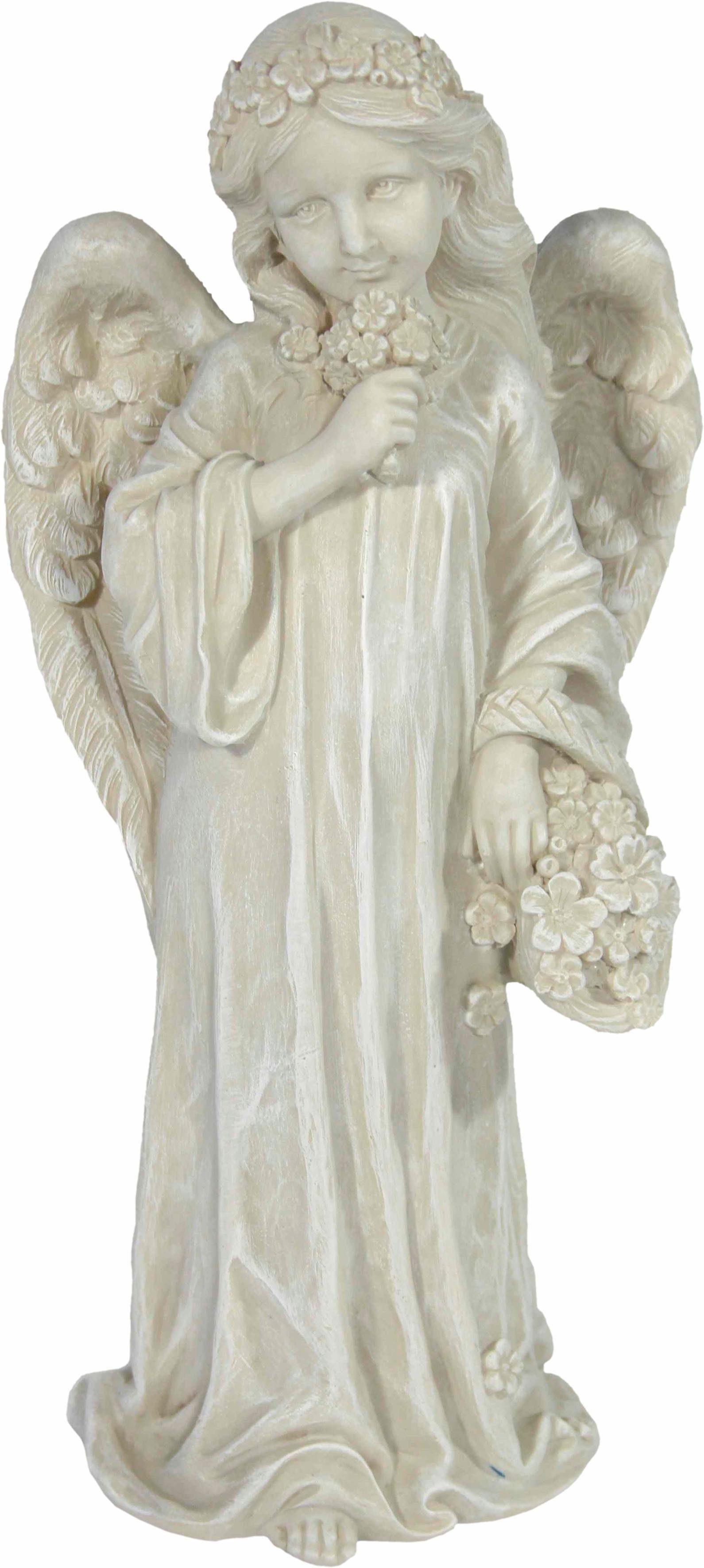 Home affaire Dekofigur »Engel stehend, Blumenkorb in der linken und Blumenstrauß in der rechten Hand, H 36 cm«