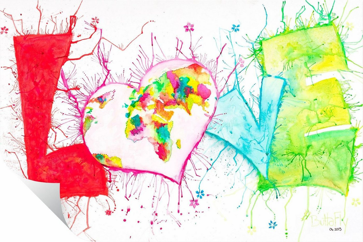Wallprint »Buttafly - Love«, 80/50 cm | Dekoration > Wandtattoos > Wallprints | Bunt | Kunststoff