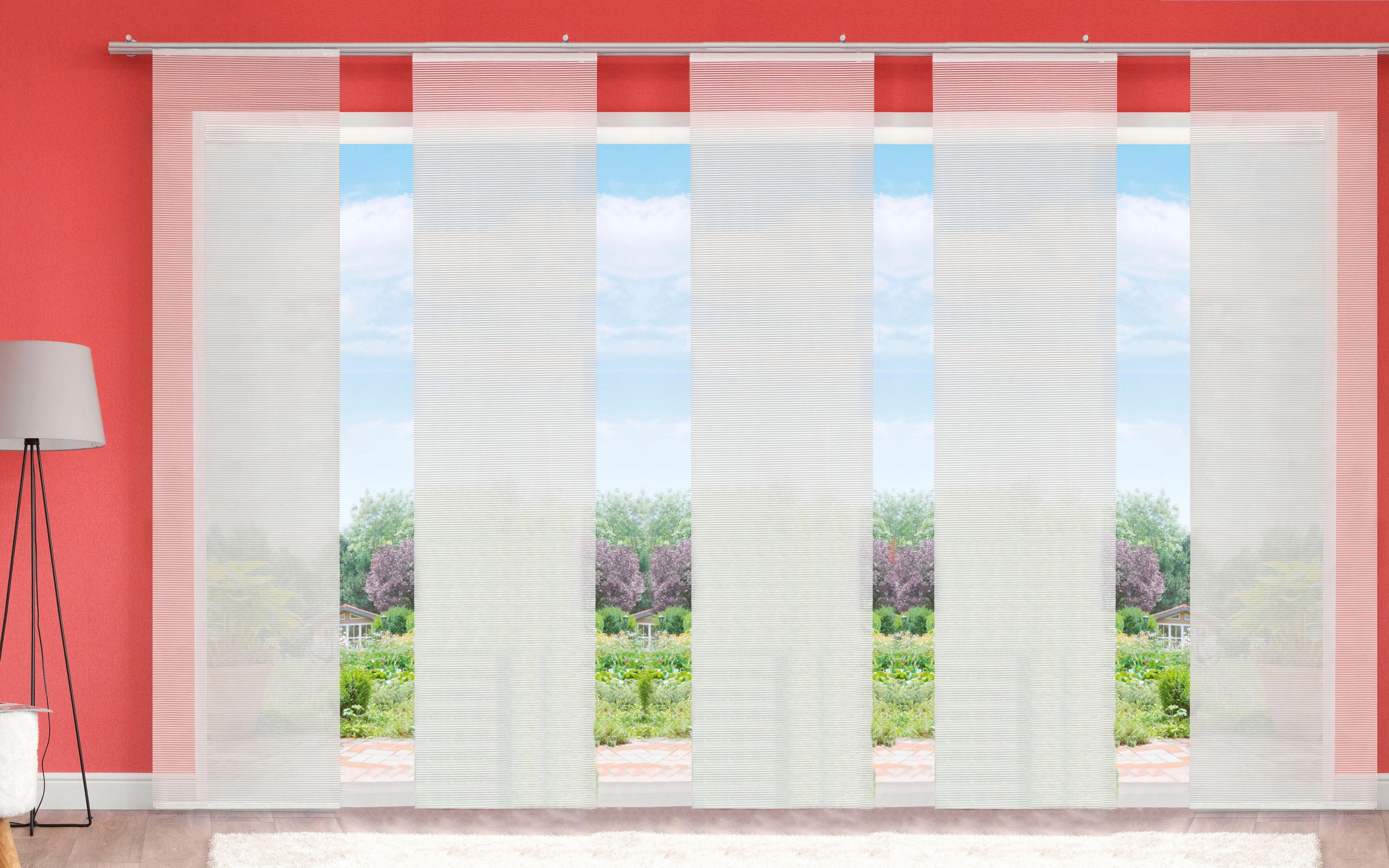 Schiebegardine »LUKKI«, HOME WOHNIDEEN, Klettband (5 Stück), inkl. Befestigungszubehör