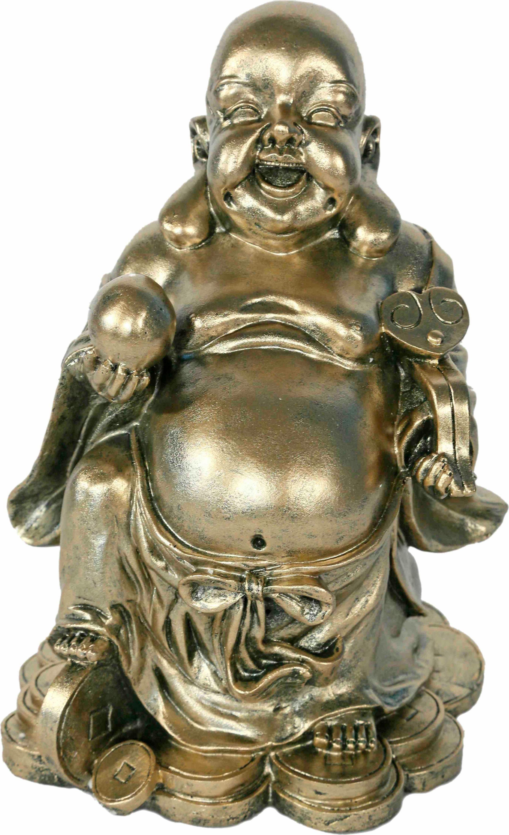 Home affaire Dekofigur »Happy Buddha, stehend hält Kugel in der Hand, silber-gold, H 30 cm«