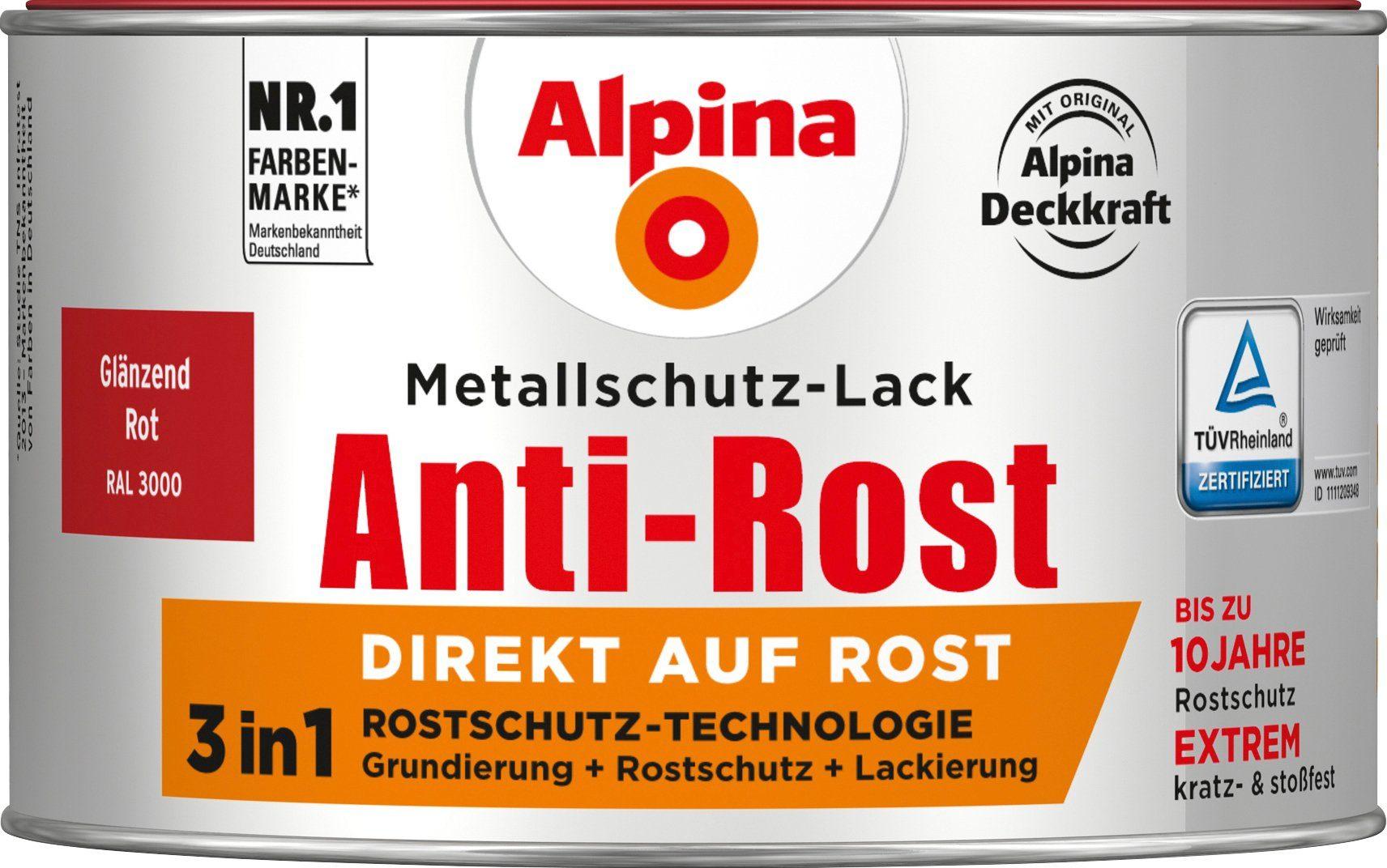 ALPINA Metallschutzlack »Anti-Rost - Glänzend Rot«, 3 in1, 300 ml