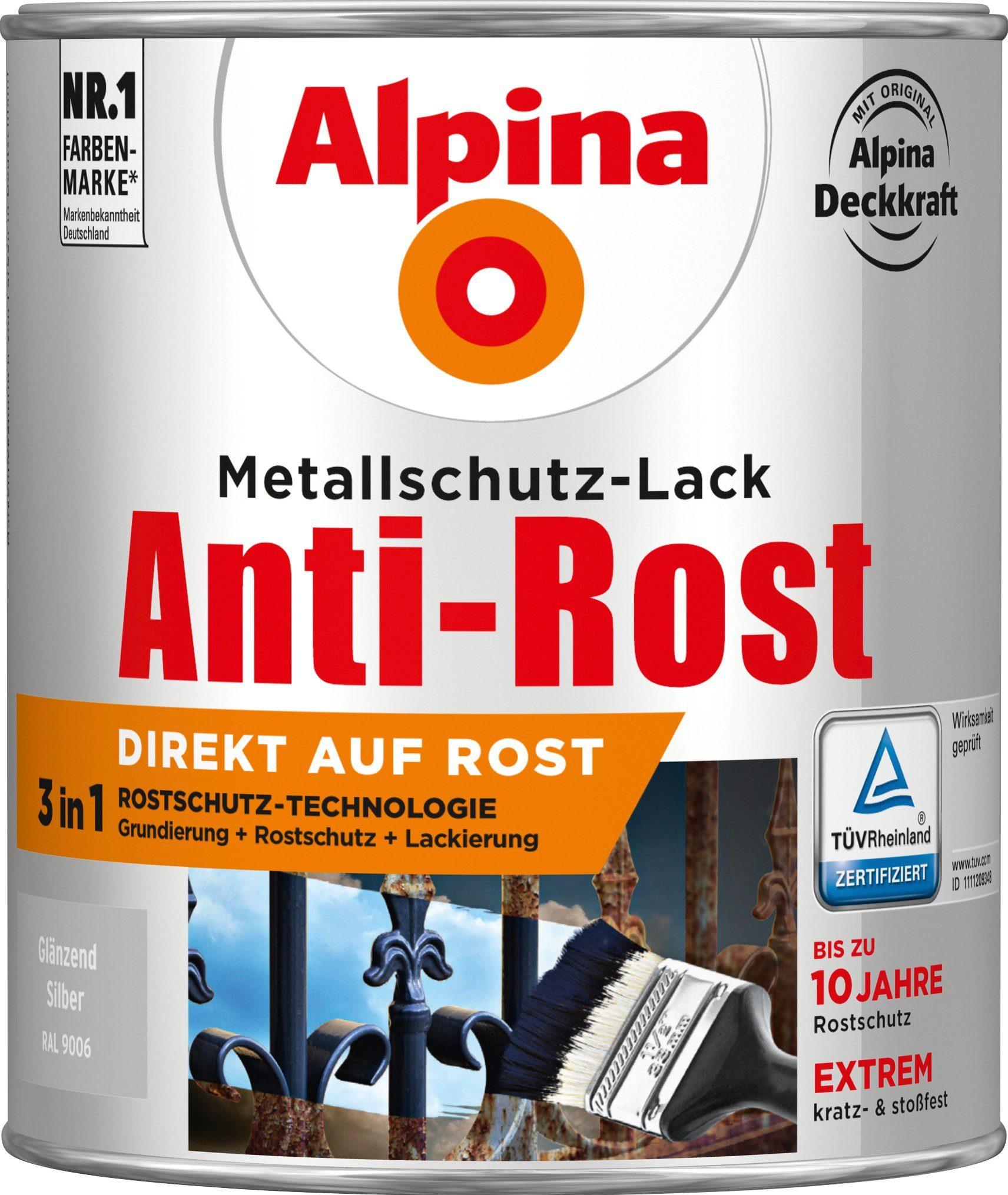ALPINA Metallschutzlack »Anti-Rost - Glänzend Silber«, 3 in1, 750 ml