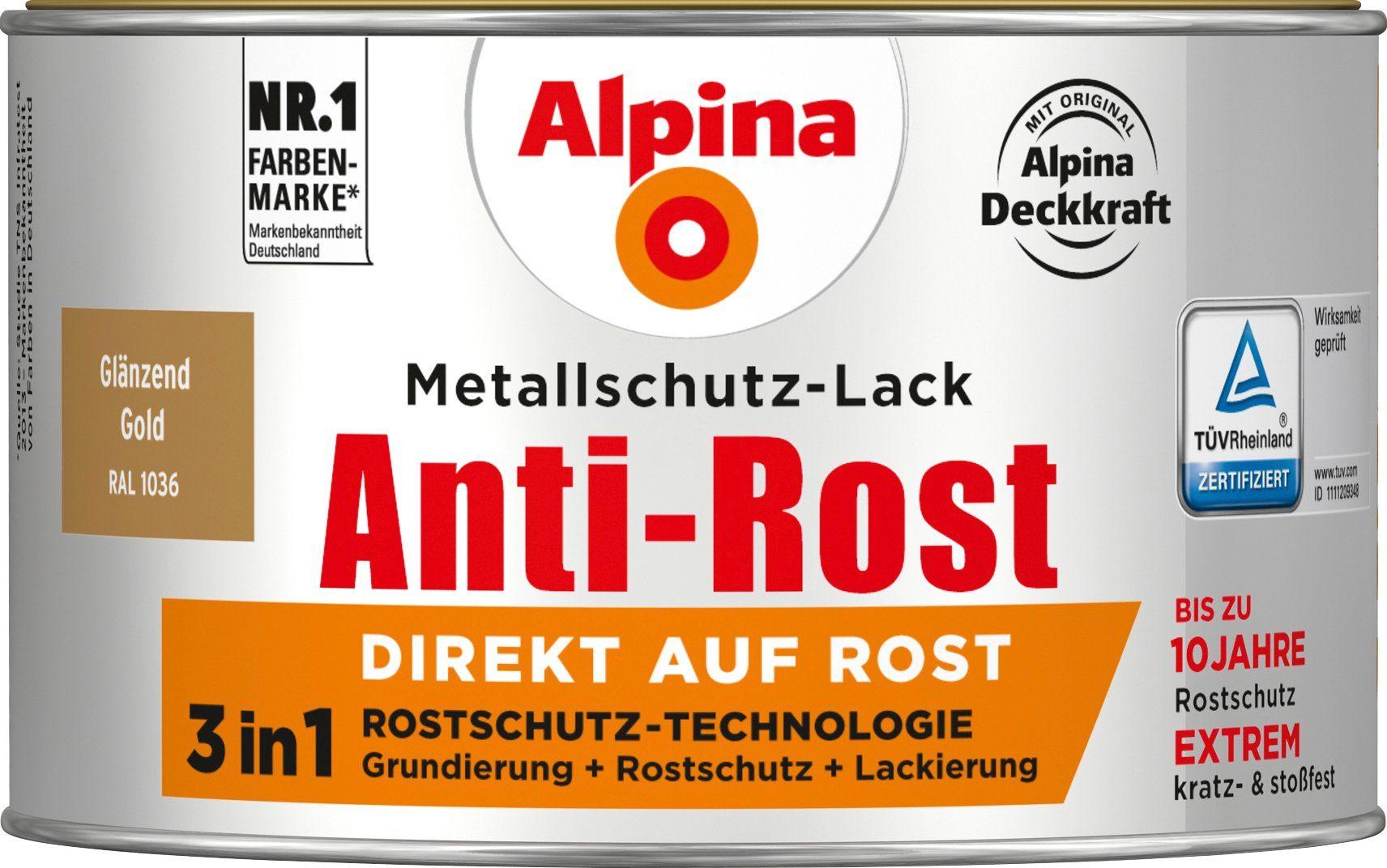 ALPINA Metallschutzlack »Anti-Rost - Glänzend Gold«, 3 in1, 300 ml