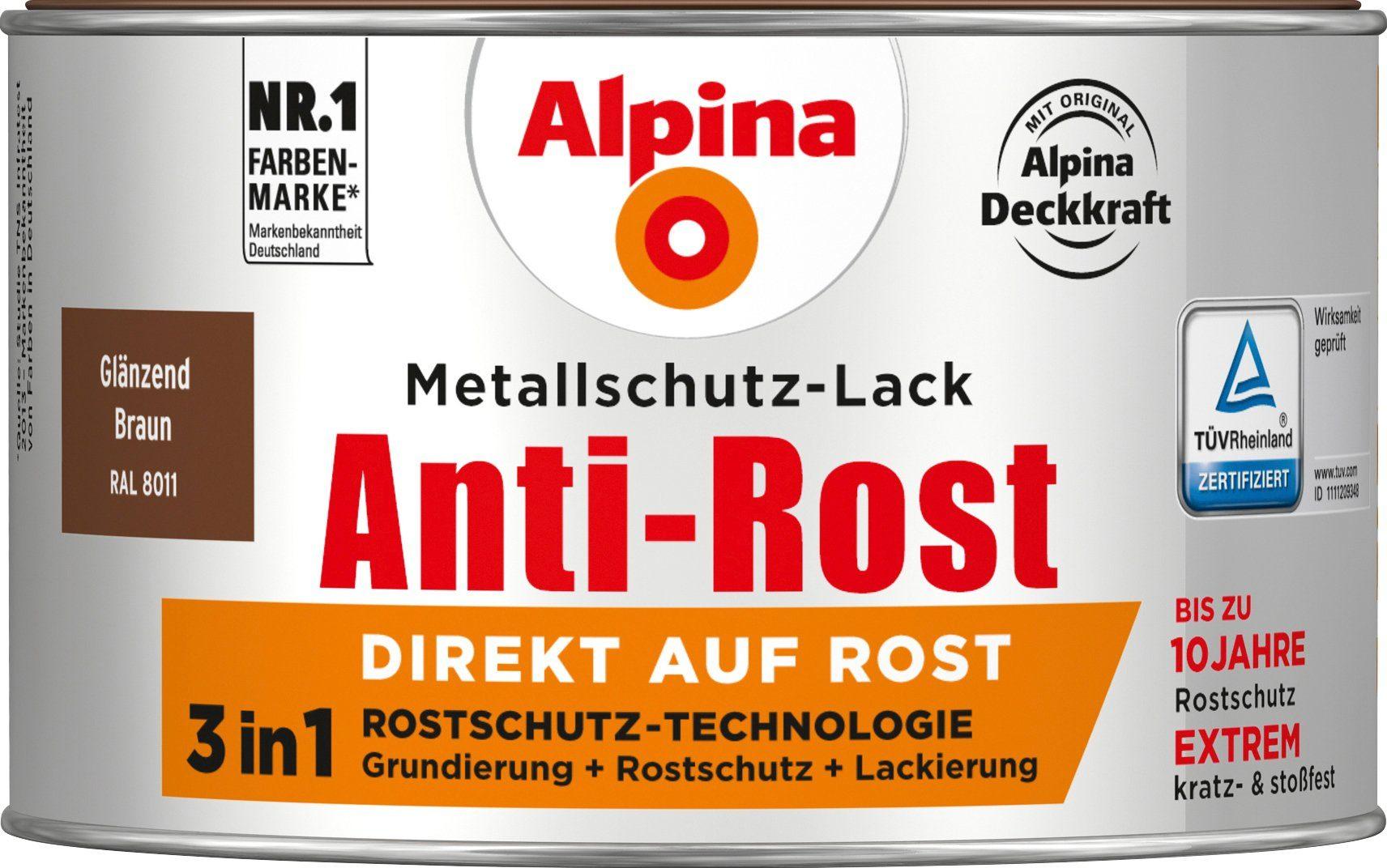 ALPINA Metallschutzlack »Anti-Rost - Glänzend Braun«, 3 in1, 300 ml