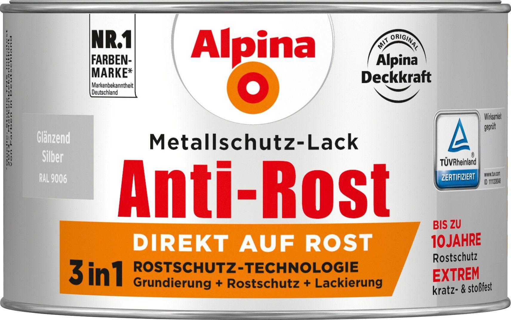 ALPINA Metallschutzlack »Anti-Rost - Glänzend Silber«, 3in1, 300 ml