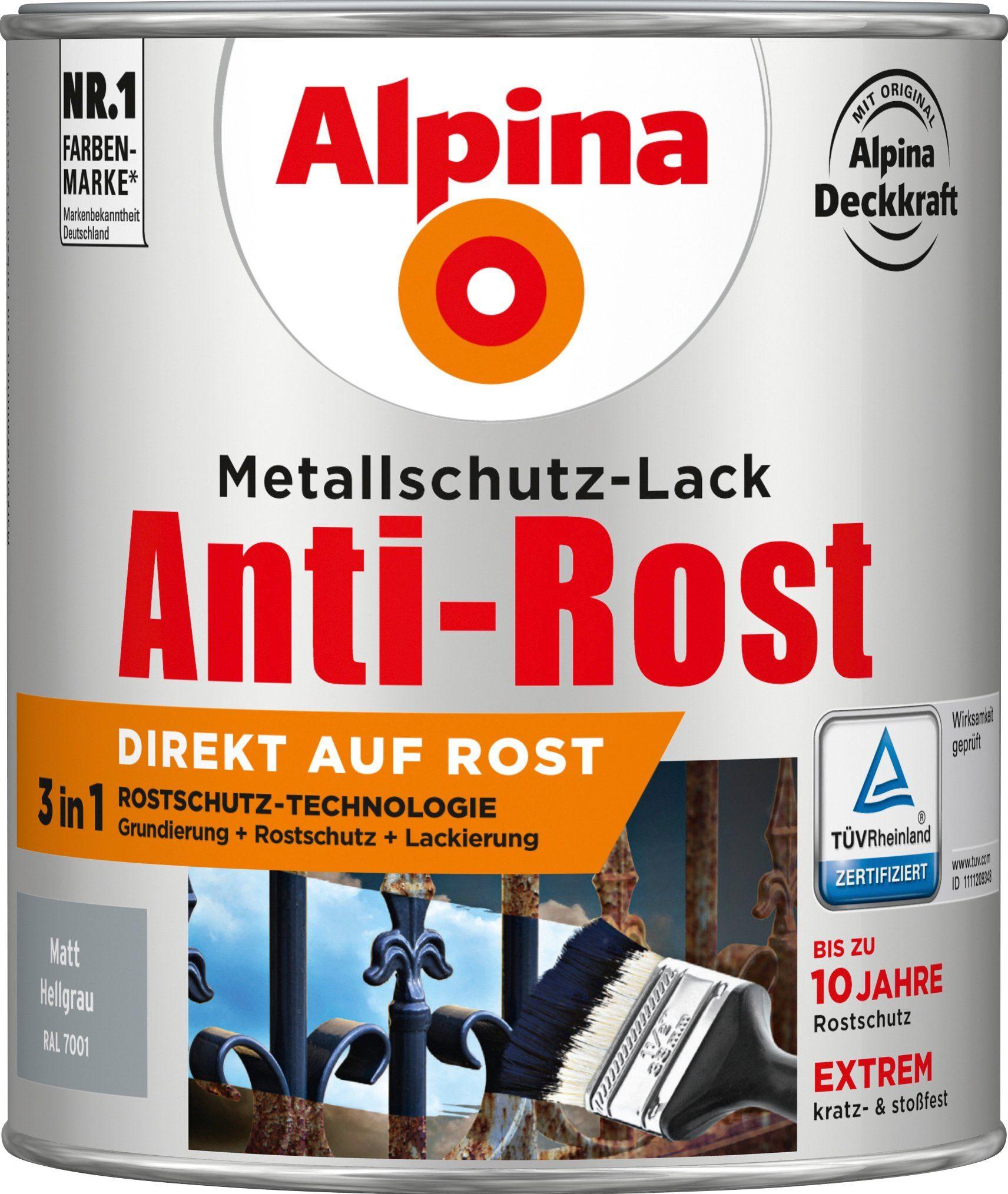 ALPINA Metallschutzlack »Anti-Rost - Matt Hellgrau«, 3in1, 750 ml