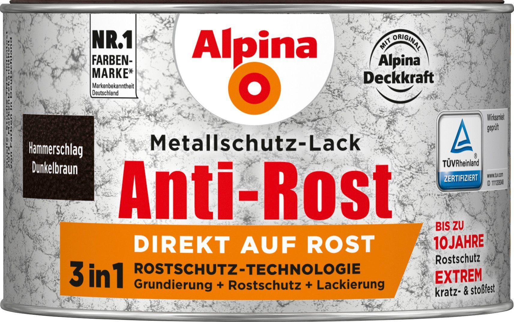 ALPINA Metallschutzlack »Anti-Rost Hammerschlag«, Dunkelbraun, 300 ml