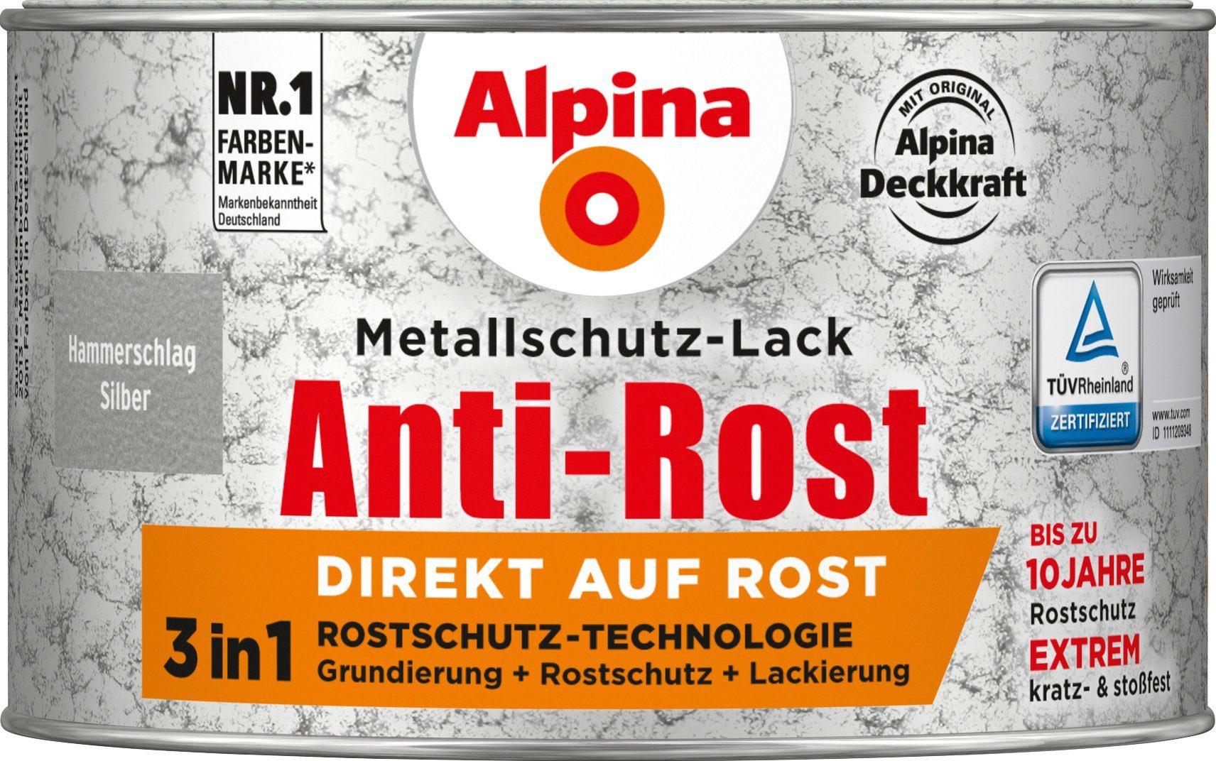 ALPINA Metallschutzlack »Anti-Rost Hammerschlag«, Silber, 300 ml