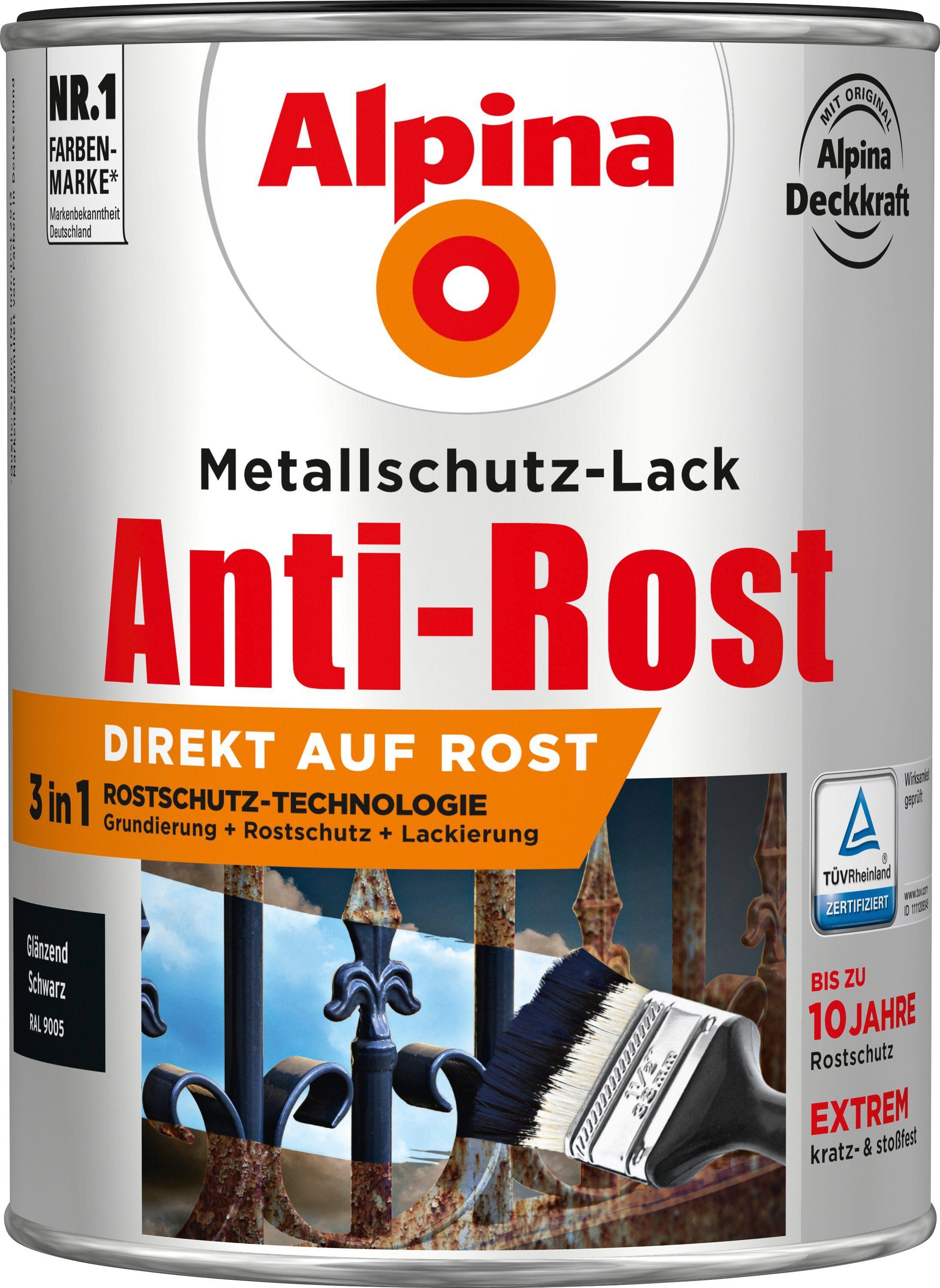 ALPINA Metallschutzlack »Anti-Rost - Glänzend Schwarz«, 3in1, 2,5 l