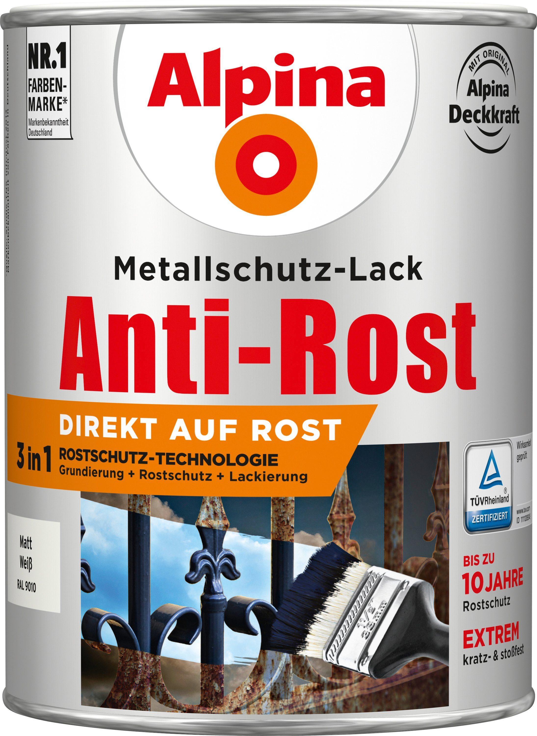 ALPINA Metallschutzlack »Anti-Rost - Matt Weiß«, 3in1, 2,5 l