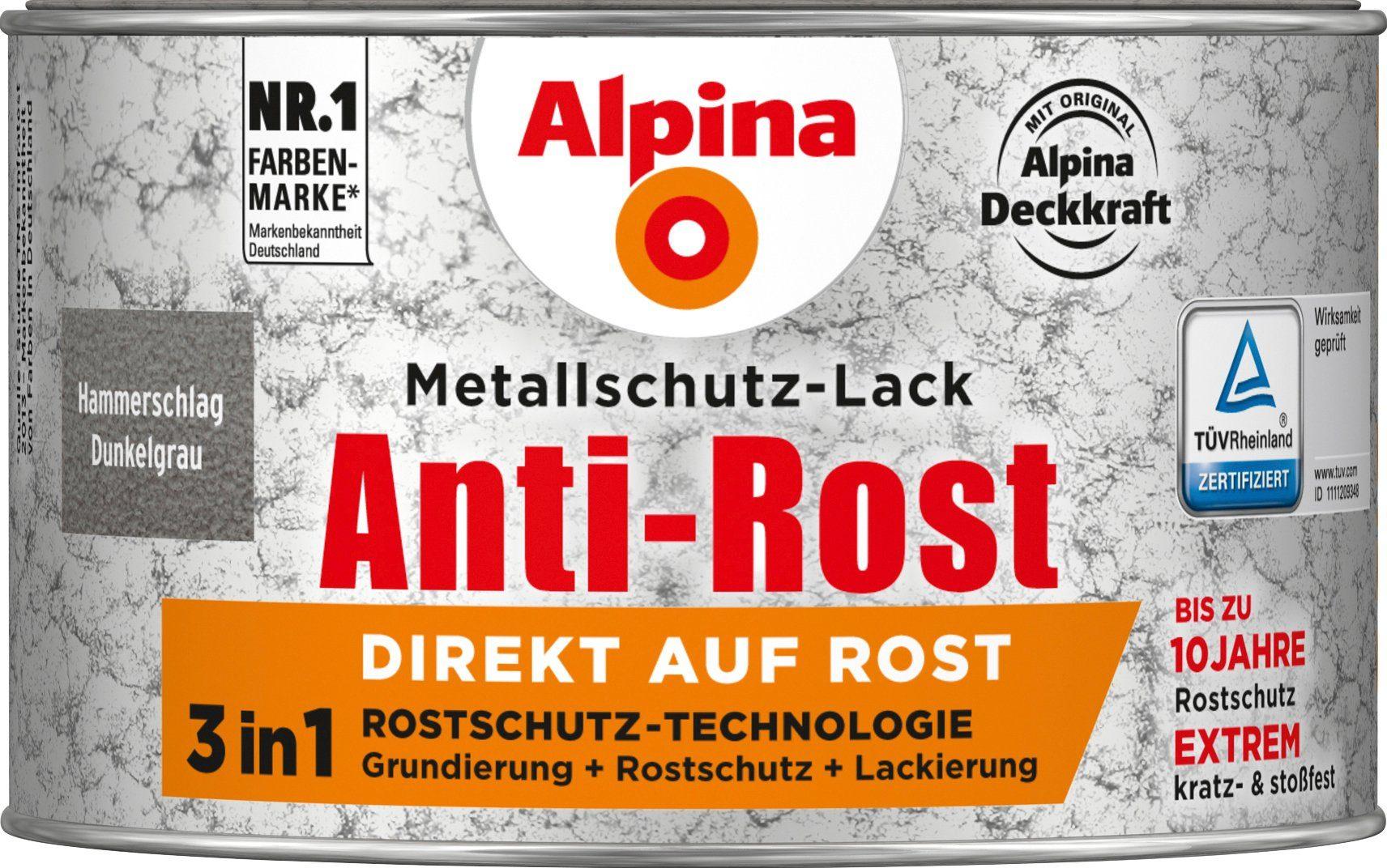 ALPINA Metallschutzlack »Anti-Rost Hammerschlag«, Dunkelgrau, 300 ml