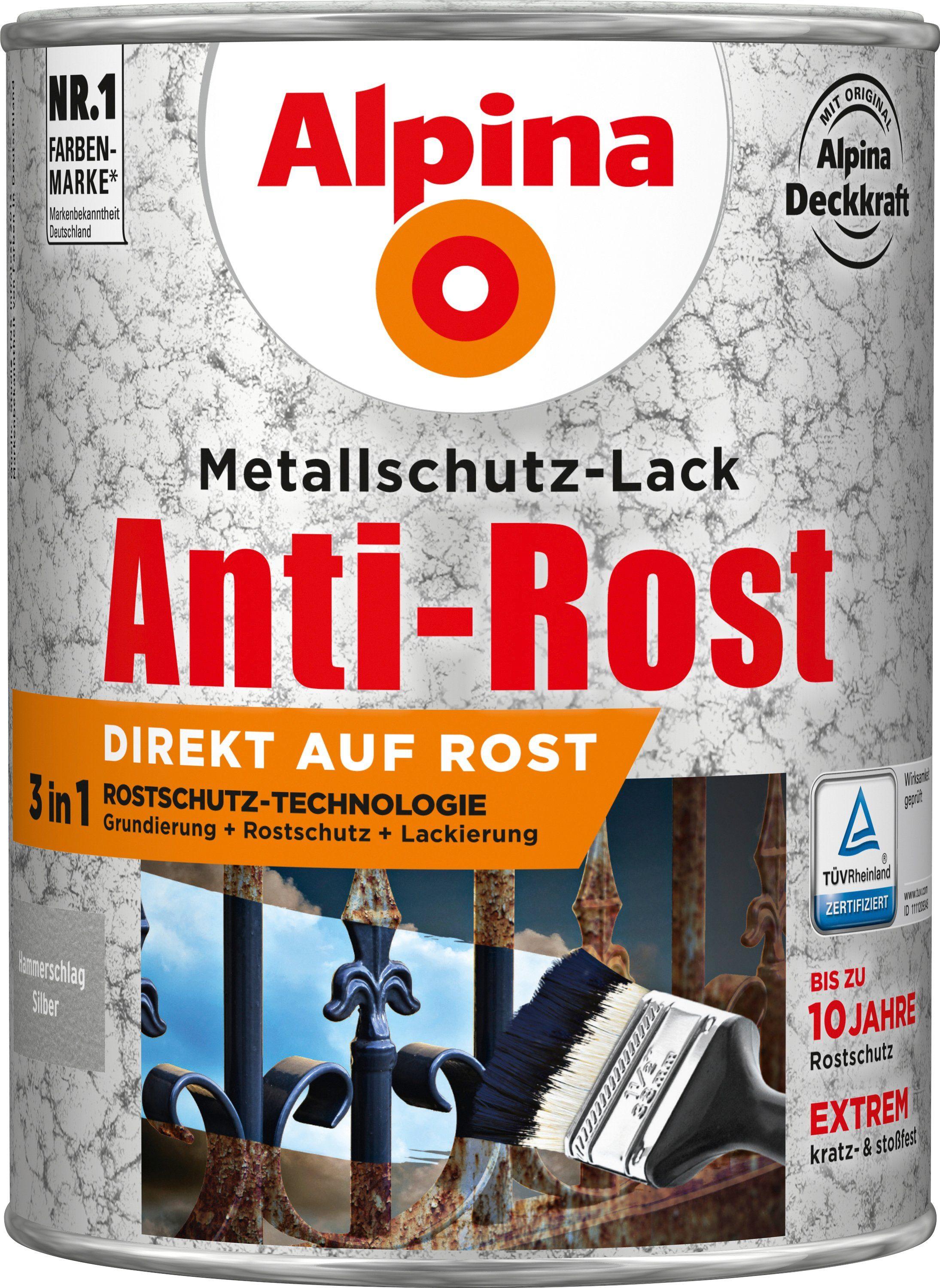 ALPINA Metallschutzlack »Anti-Rost Hammerschlag«, Silber 2,5 l