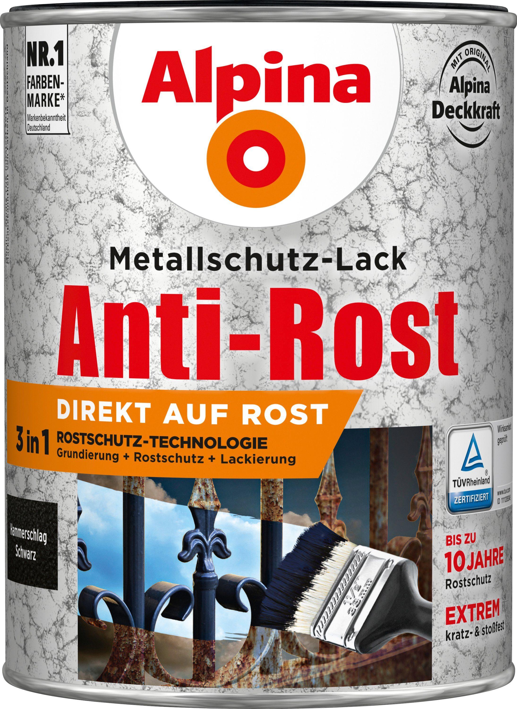 ALPINA Metallschutzlack »Anti-Rost Hammerschlag«, Schwarz, 2,5 l