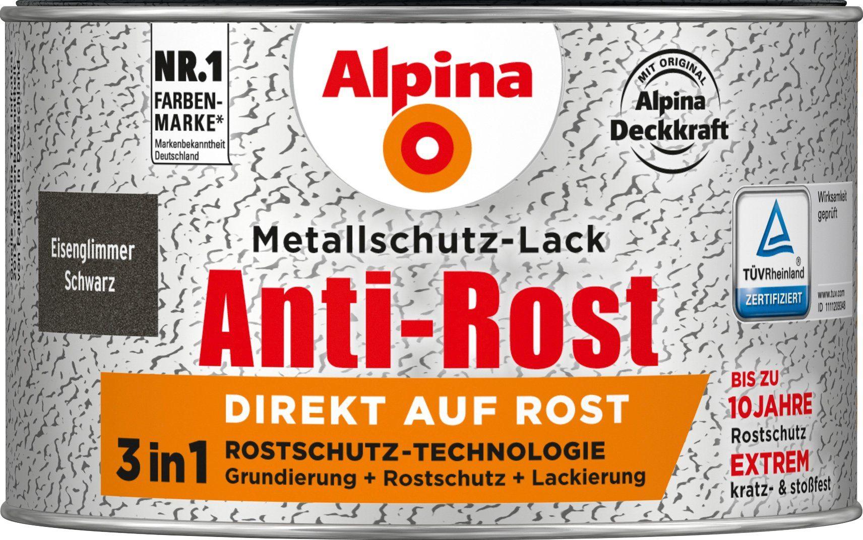 ALPINA Metallschutzlack »Anti-Rost - Eisenglimmer Schwarz«, 3 in1, 300 ml